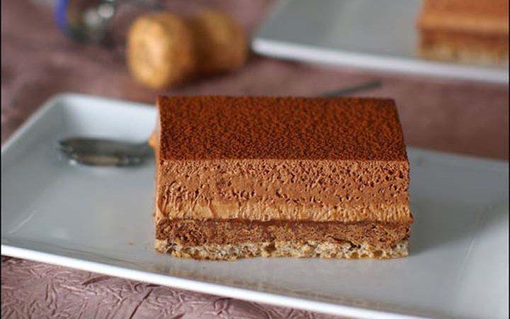 recette d'entremets croustillant aux deux chocolats