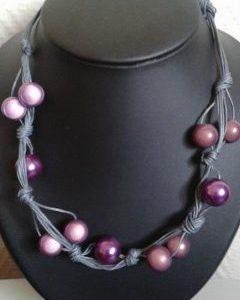 Collier tresse gris perles rose poudre