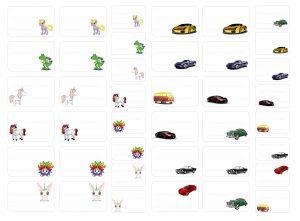 étiquettes licornes et voitures